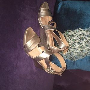 BEAUTIFUL SOFT GOLD CLARK'S WEDGES — $ 45